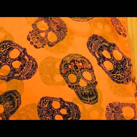 "Accessories - Sugar skull scarf in orange infinity scarf 18"""